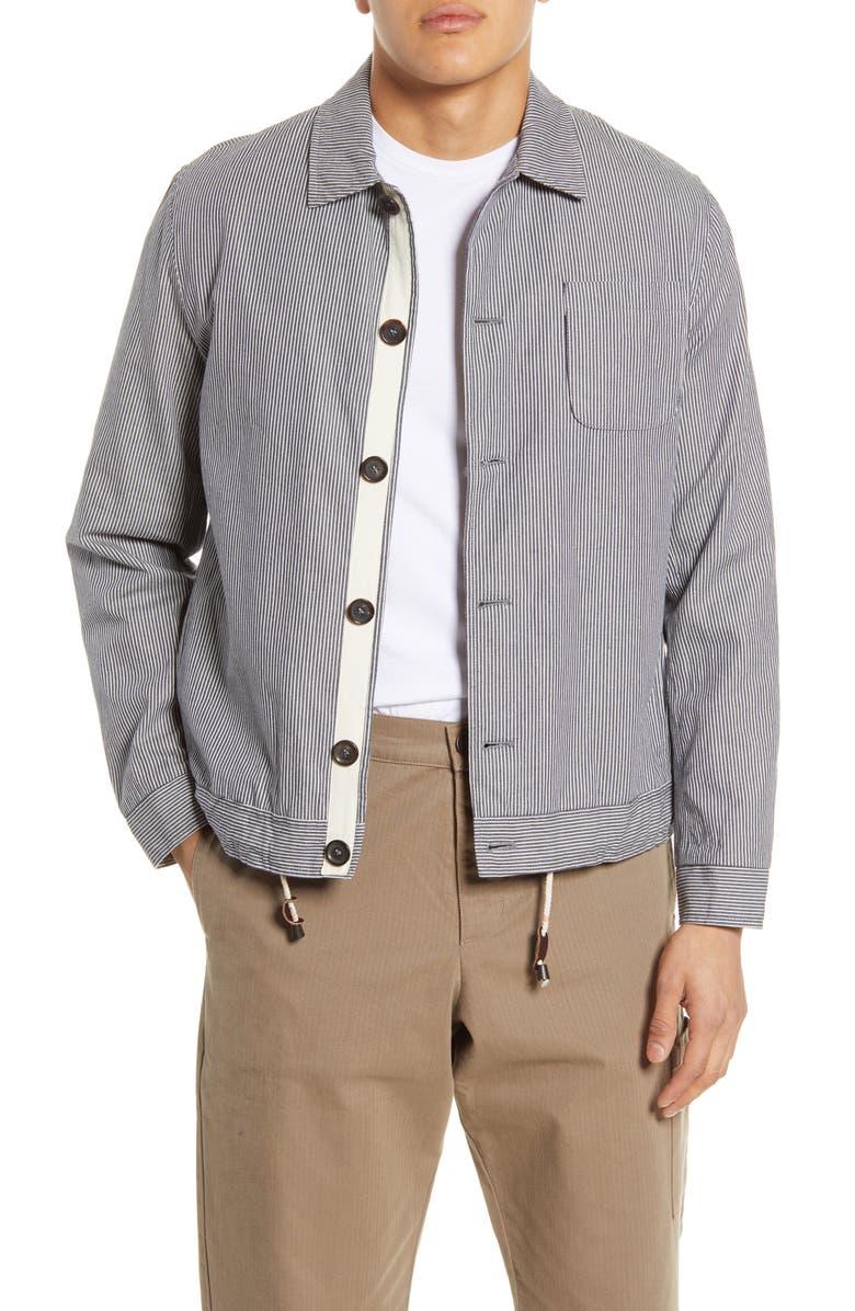 OLIVER SPENCER Buckland Slim Fit Stripe Jacket, Main, color, TEMPLE BLUE
