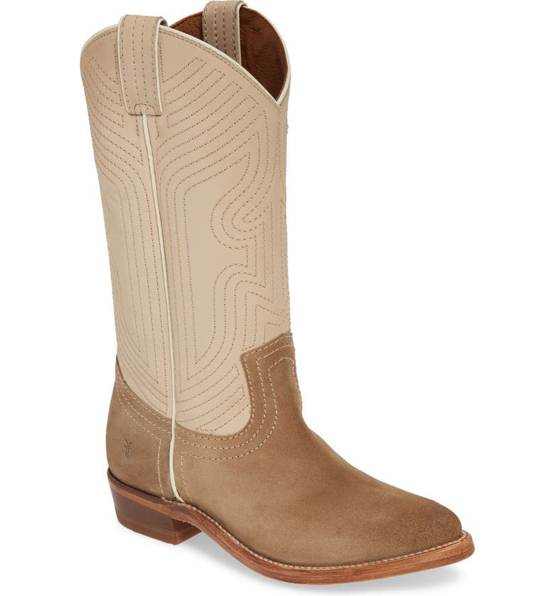 FRYE Billy Western Boot, Main, color, OFF WHITE MULTI