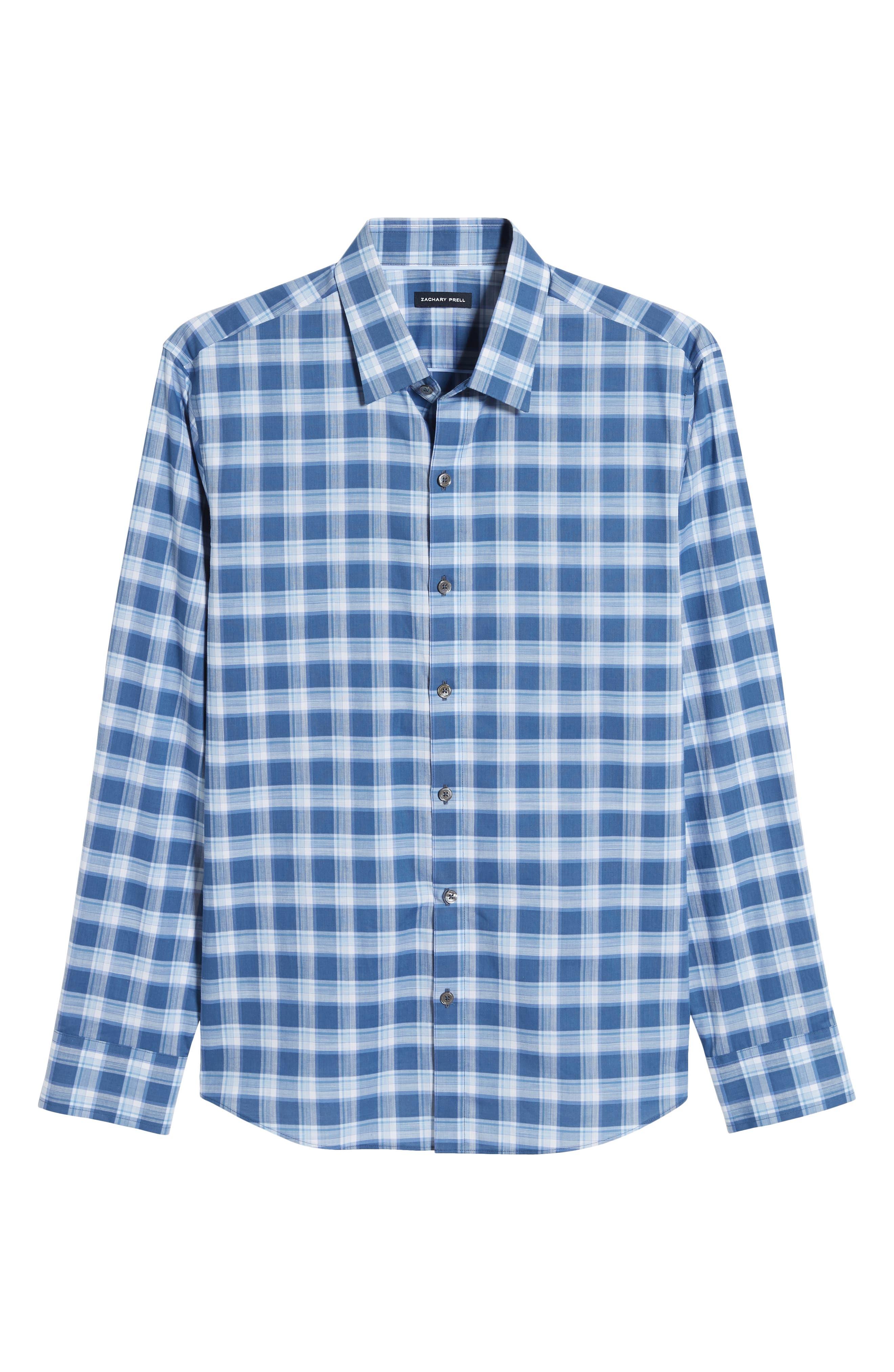 ,                             Albrecht Regular Fit Check Sport Shirt,                             Alternate thumbnail 5, color,                             BLUE