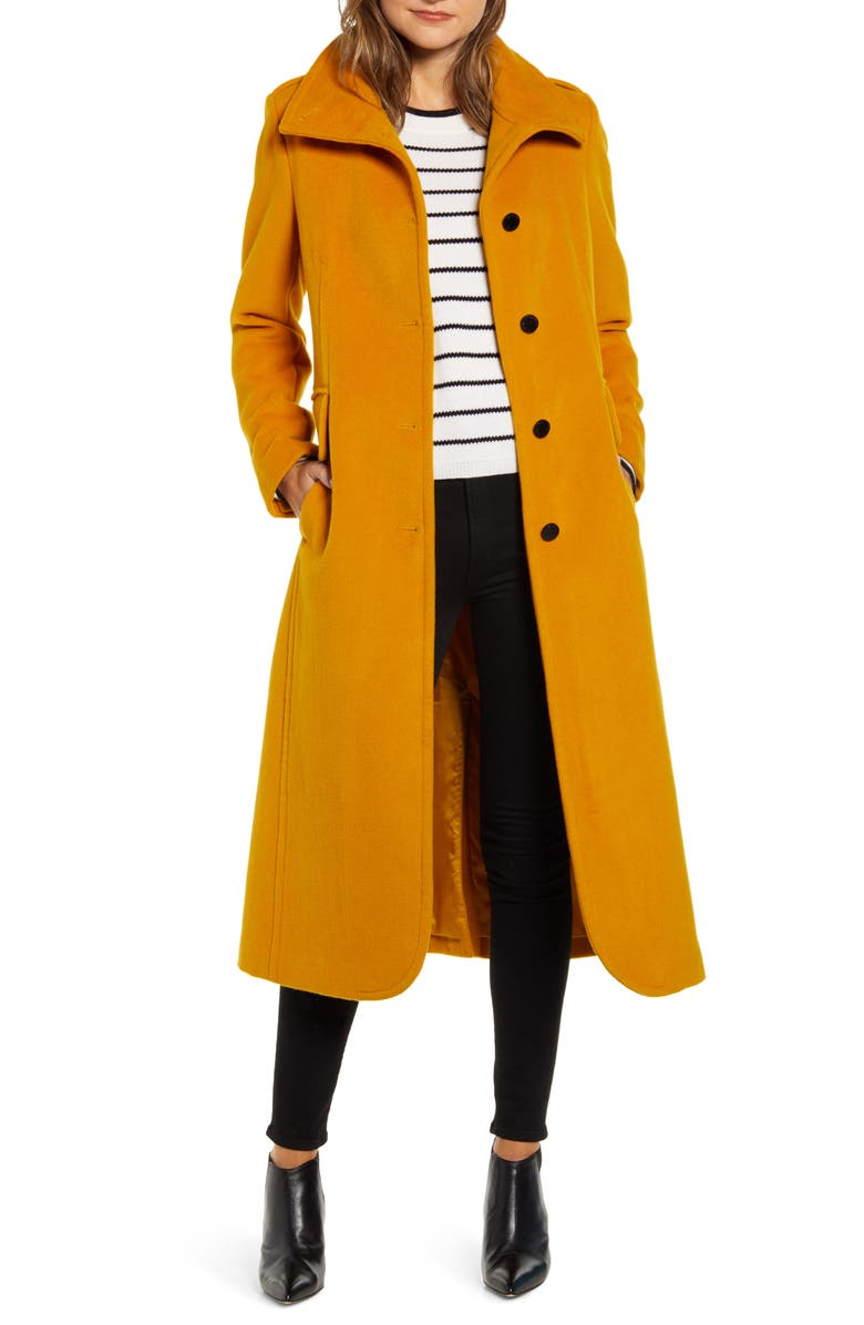 KENNETH COLE NEW YORK Long Wool Blend Jacket, Main, color, MUSTARD