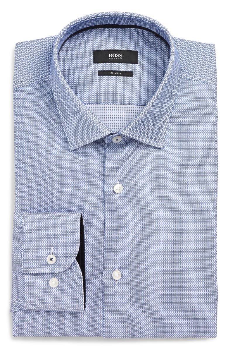 BOSS Jesse Slim Fit Geometric Dress Shirt, Main, color, MED BLUE