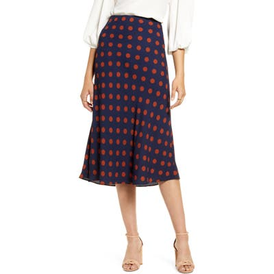 Petite Halogen Bias Cut A-Line Skirt, Blue