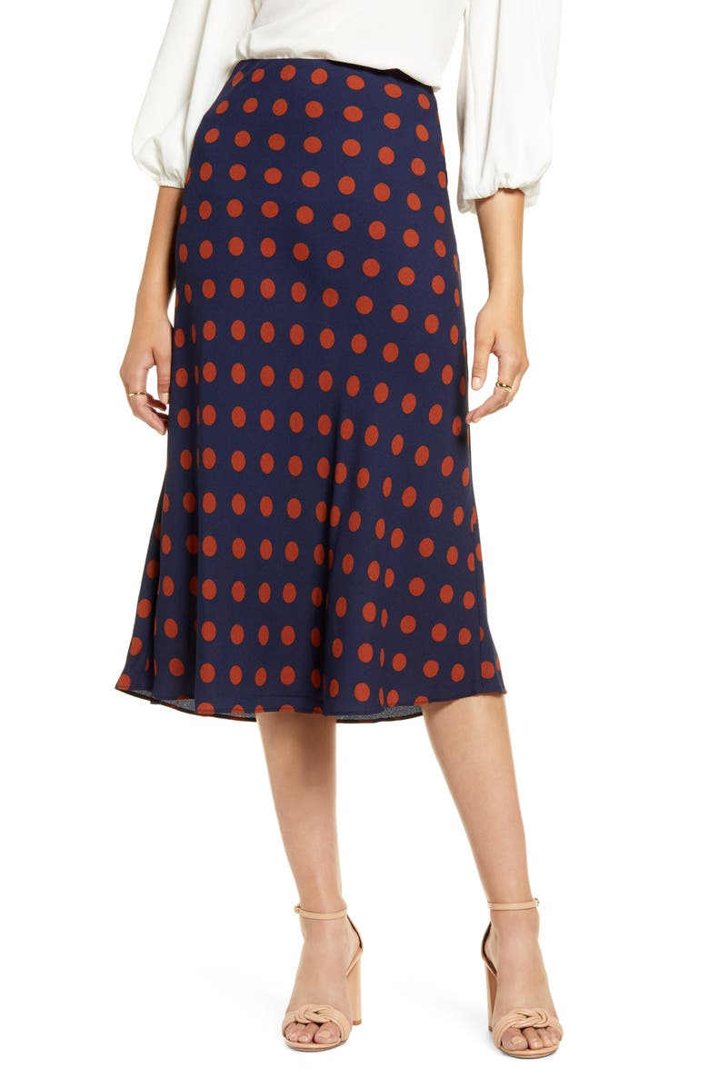 HALOGEN<SUP>®</SUP> Bias Cut A-Line Skirt, Main, color, NAVY- RUST DOT