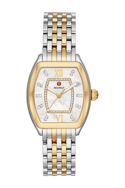 Image of Michele Women's Releve Diamond Two-Tone Bracelet Watch, 31mm x 40mm - 0.19 ctw