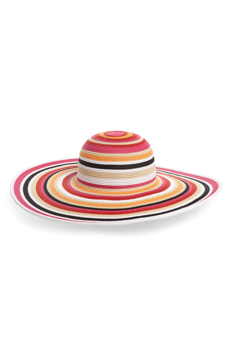 NORDSTROM Ombré Stripe Floppy Straw Hat, Main, color, 600