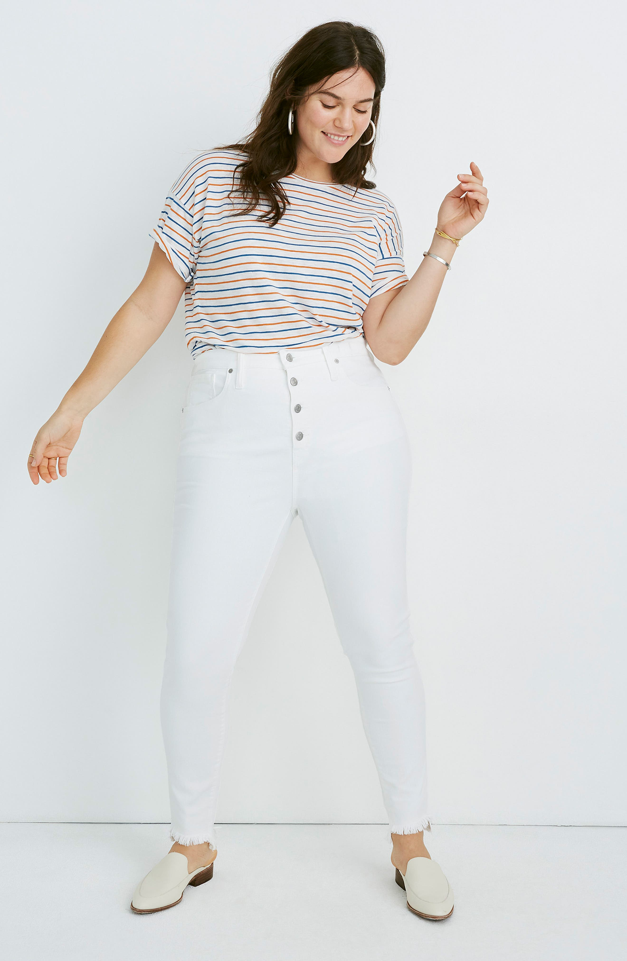 ,                             10-Inch High Waist Button Front Ankle Skinny Jeans,                             Alternate thumbnail 10, color,                             PURE WHITE