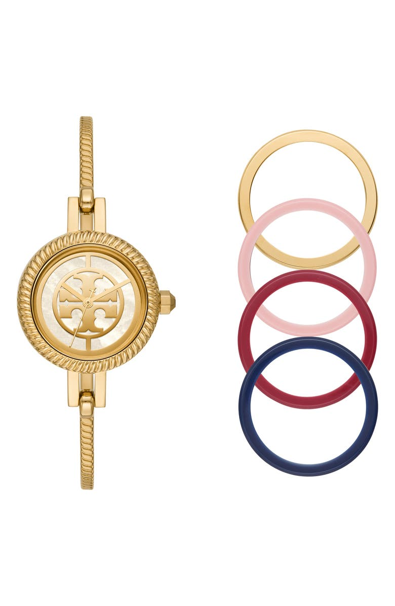TORY BURCH The Reva Bangle Watch Set, 29mm, Main, color, GOLD/ MOP/ PINK/ RED/ BLUE