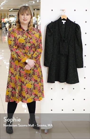Archive Print Tie Neck Long Sleeve Minidress, sales video thumbnail