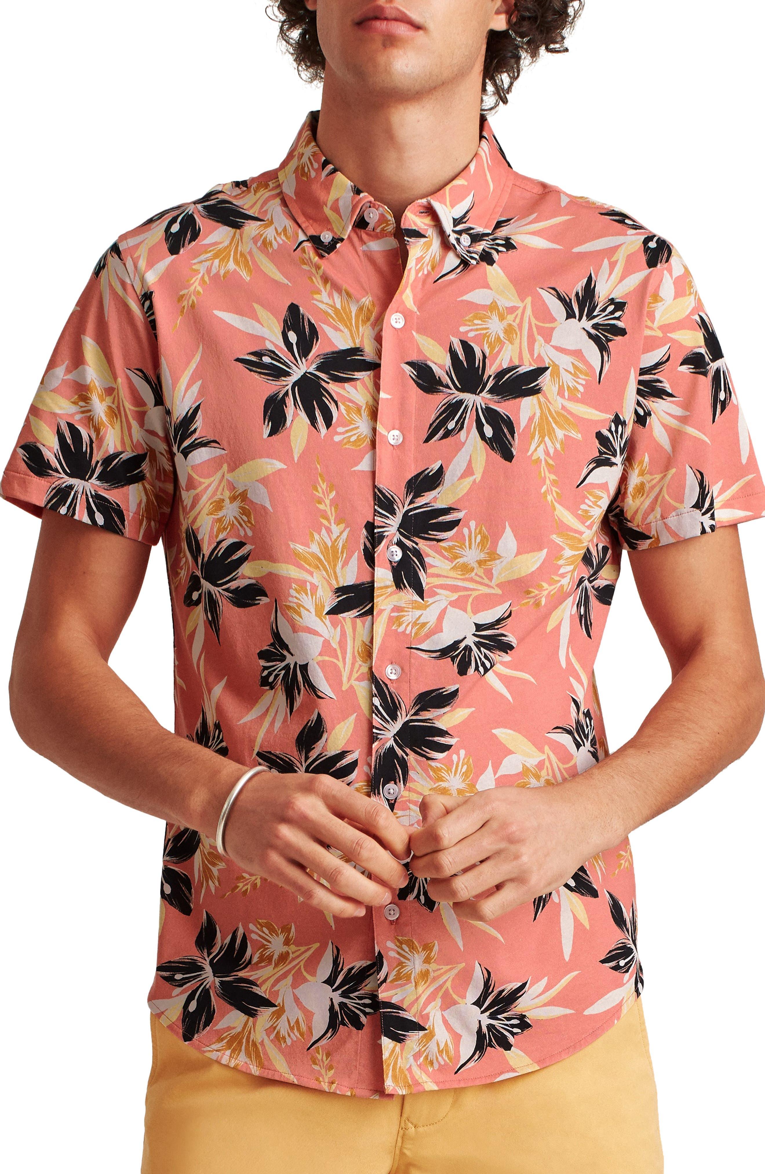 Slim Fit Short Sleeve Knit Button-Down Shirt