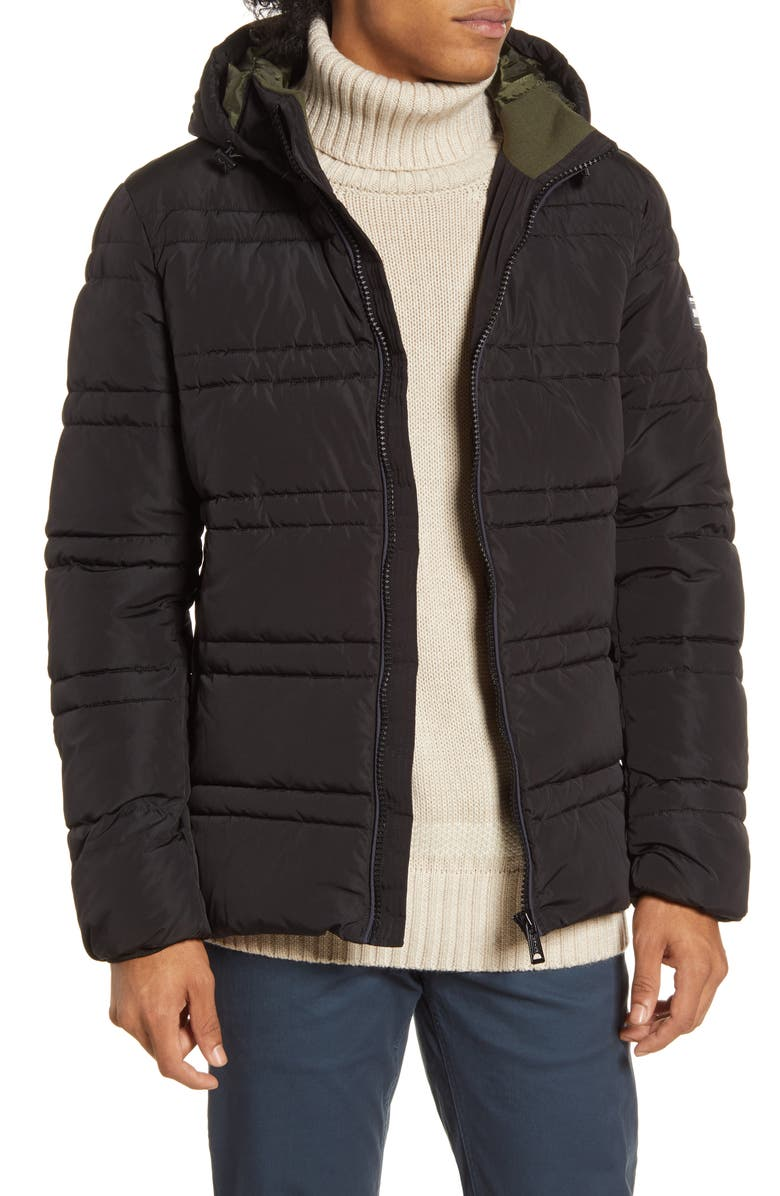 SCOTCH & SODA Channel Quilted Hooded Jacket, Main, color, 002