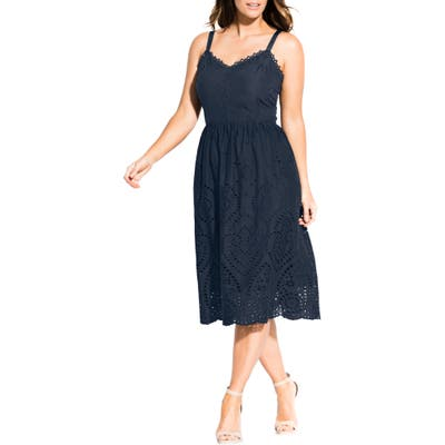 Plus Size City Chic Cotton Eyelet Fit & Flare Dress, Blue