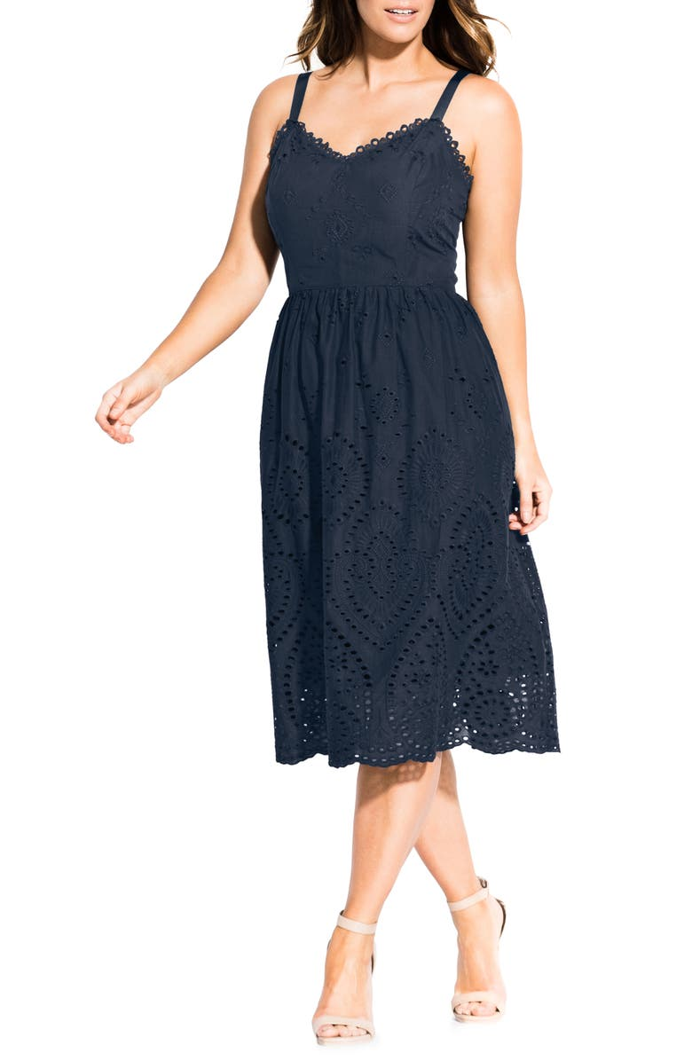 CITY CHIC Cotton Eyelet Fit & Flare Dress, Main, color, NAVY