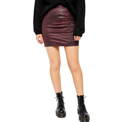 Free People Rumi Ruched Faux Leather Miniskirt, Burgundy