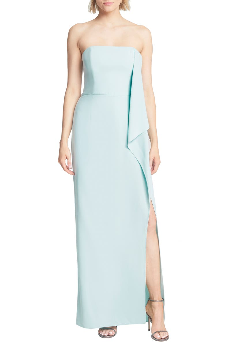 HALSTON HERITAGE Strapless Draped Crepe Gown, Main, color, 321