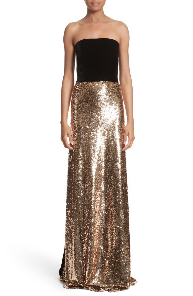 MONIQUE LHUILLIER Strapless Velvet & Sequin Gown, Main, color, 710