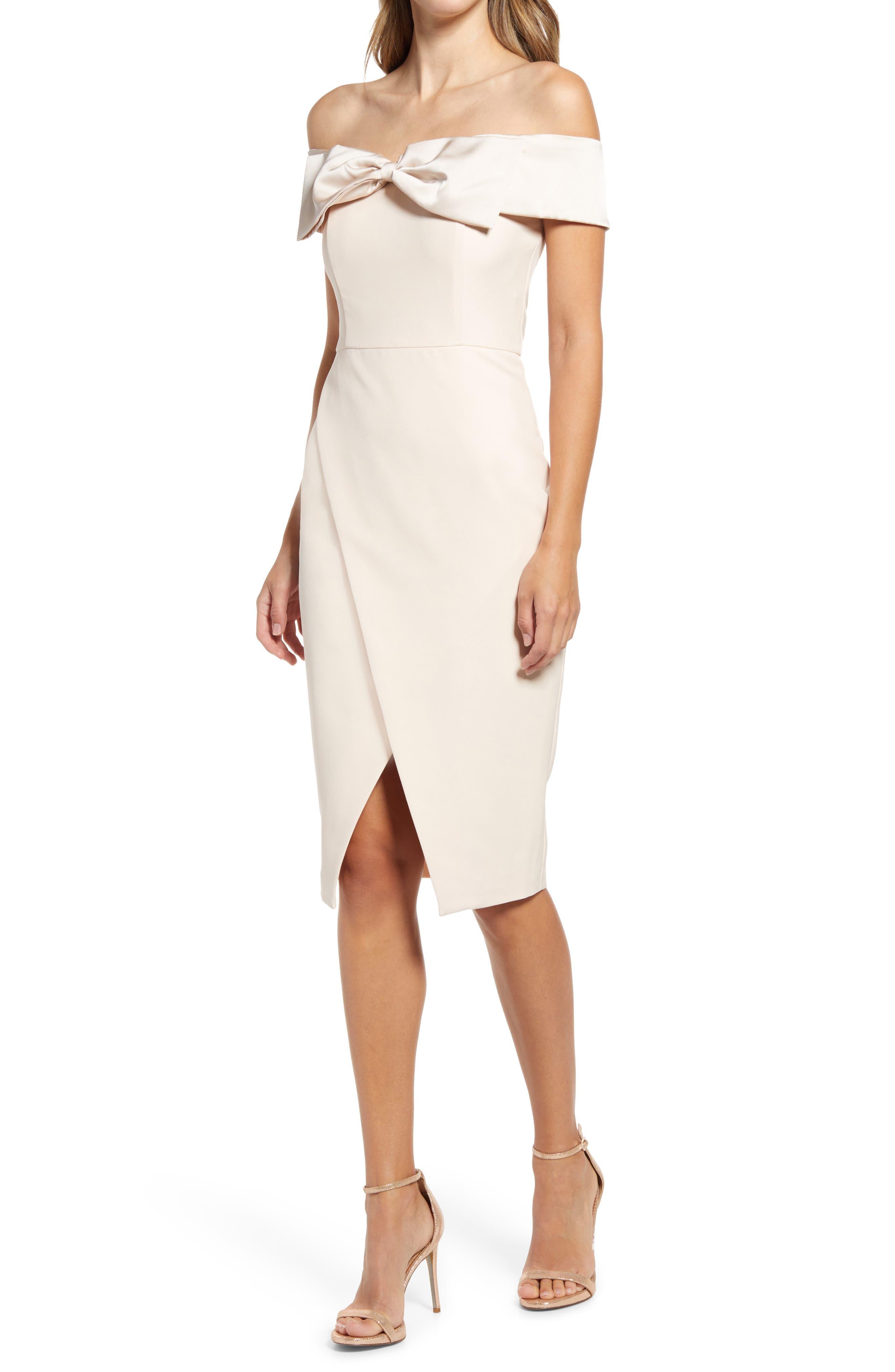 Bow Detail Bardot Midi Dress
