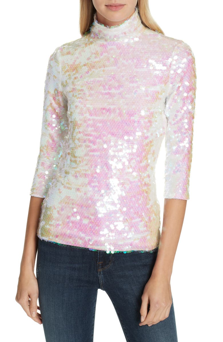 MILLY Sequin Mock Neck Top, Main, color, PEARL