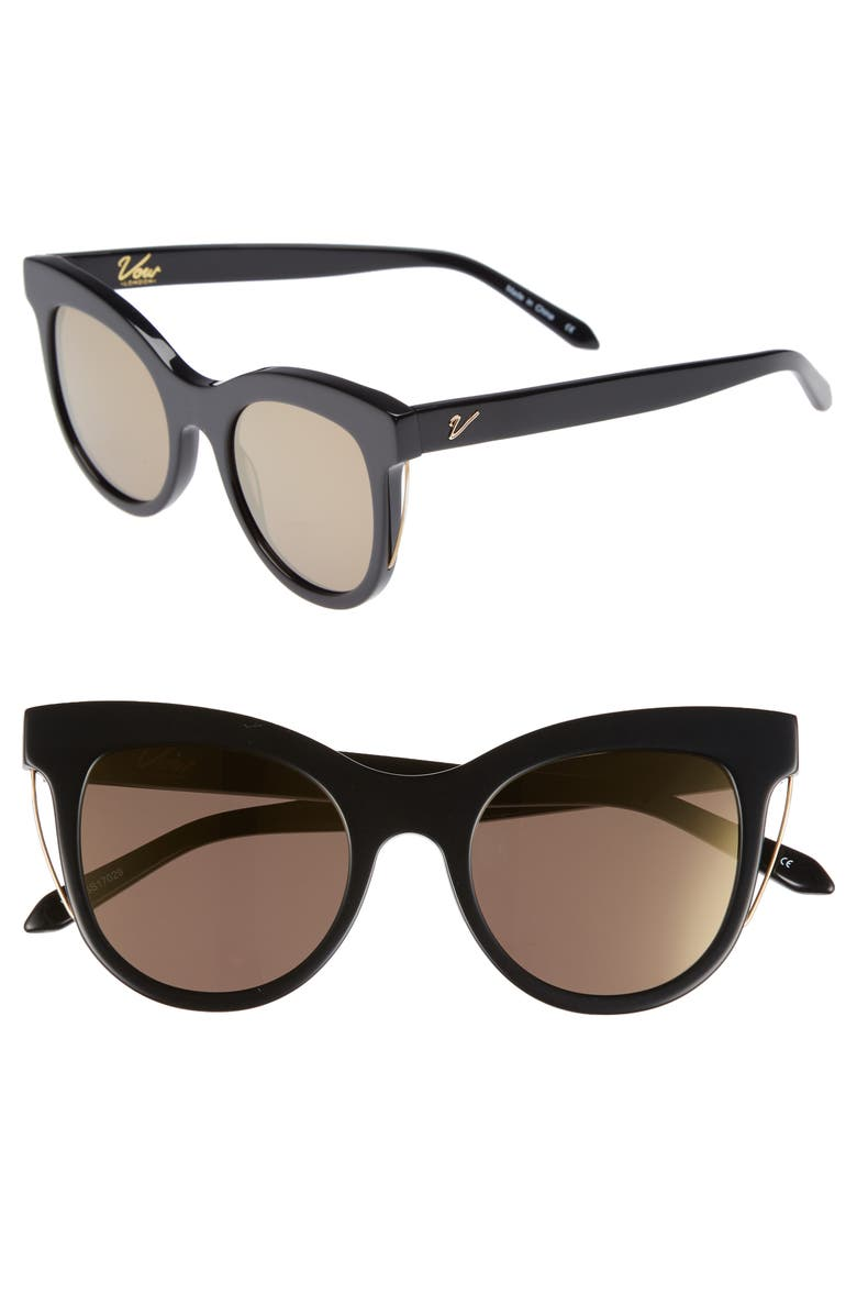 VOW LONDON Sloane 52mm Cat Eye Sunglasses, Main, color, BLACK/ GOLD MIRROR