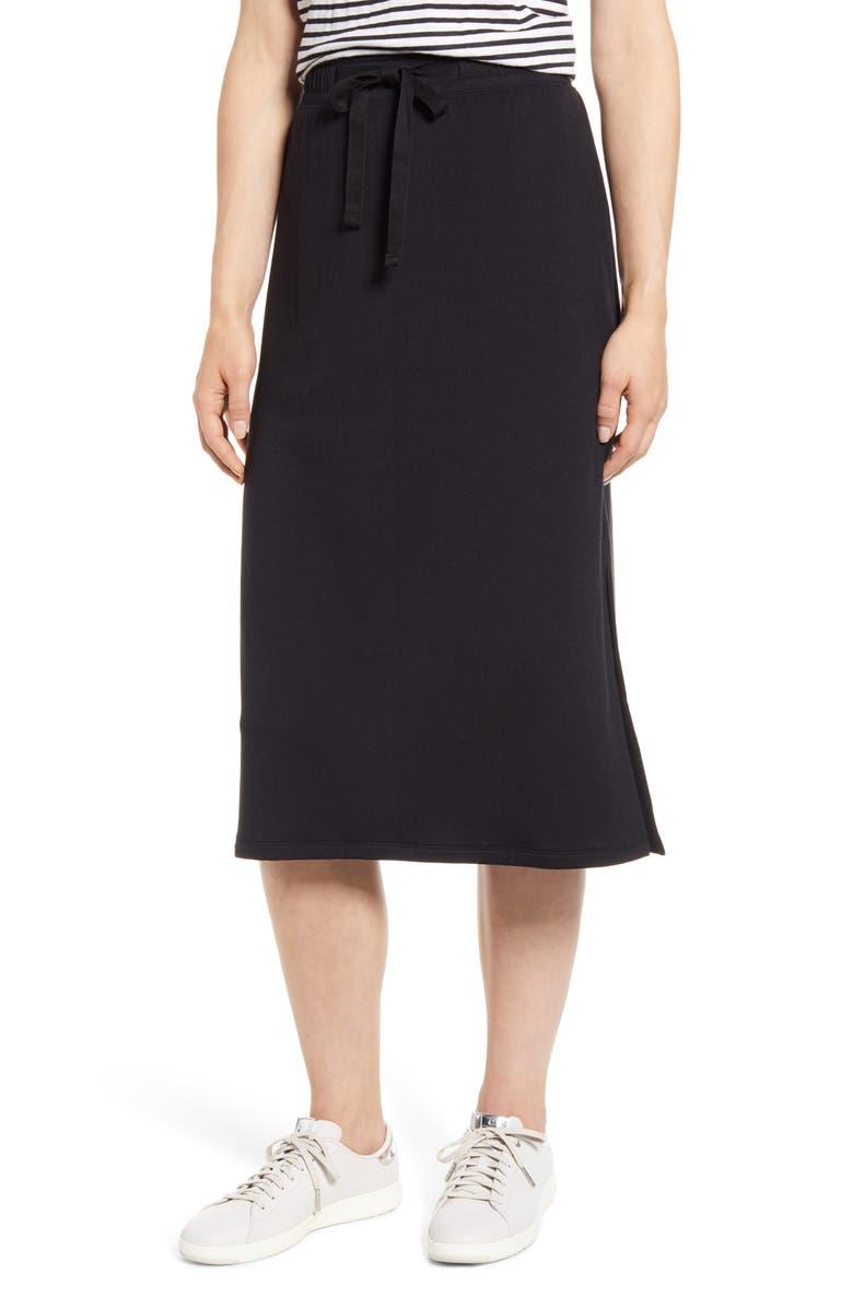 CASLON<SUP>®</SUP> Textured Knit Skirt, Main, color, BLACK
