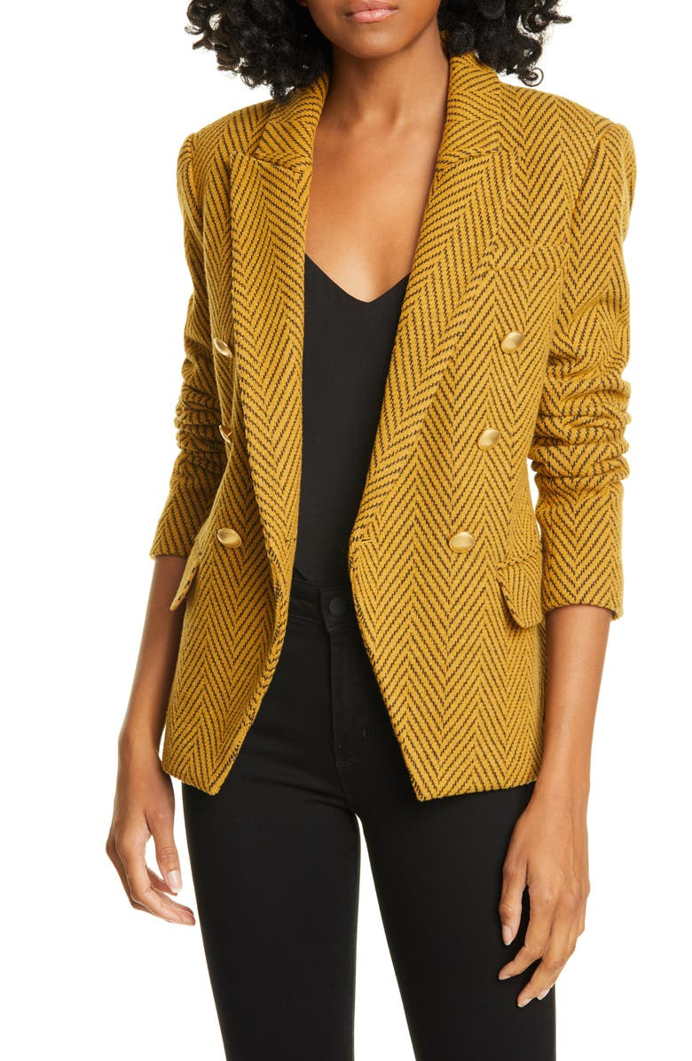 L'AGENCE Kenzie Double Breasted Blazer, Main, color, GOLD MULTI