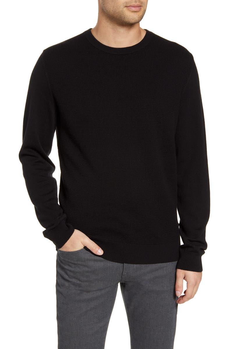 BOSS Bospan Textured Crewneck Sweater, Main, color, 001