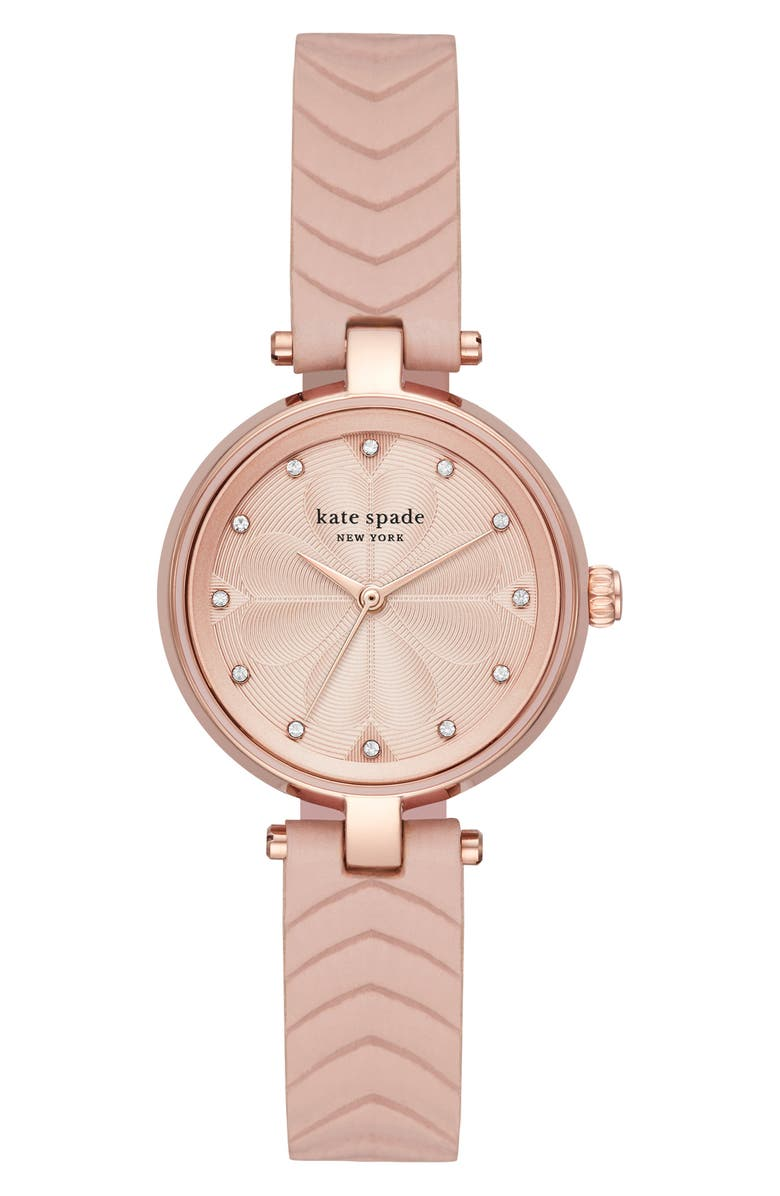 KATE SPADE NEW YORK annadale leather strap watch, 30mm, Main, color, BLUSH/ ROSE GOLD