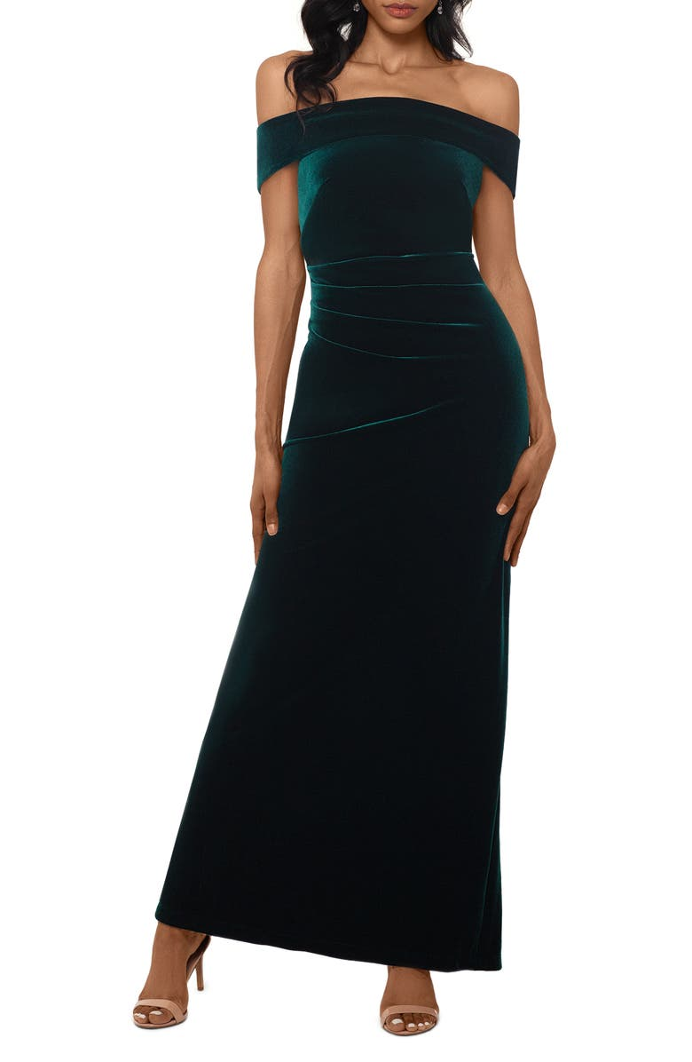 XSCAPE Off the Shoulder Velvet Gown, Main, color, HUNTER