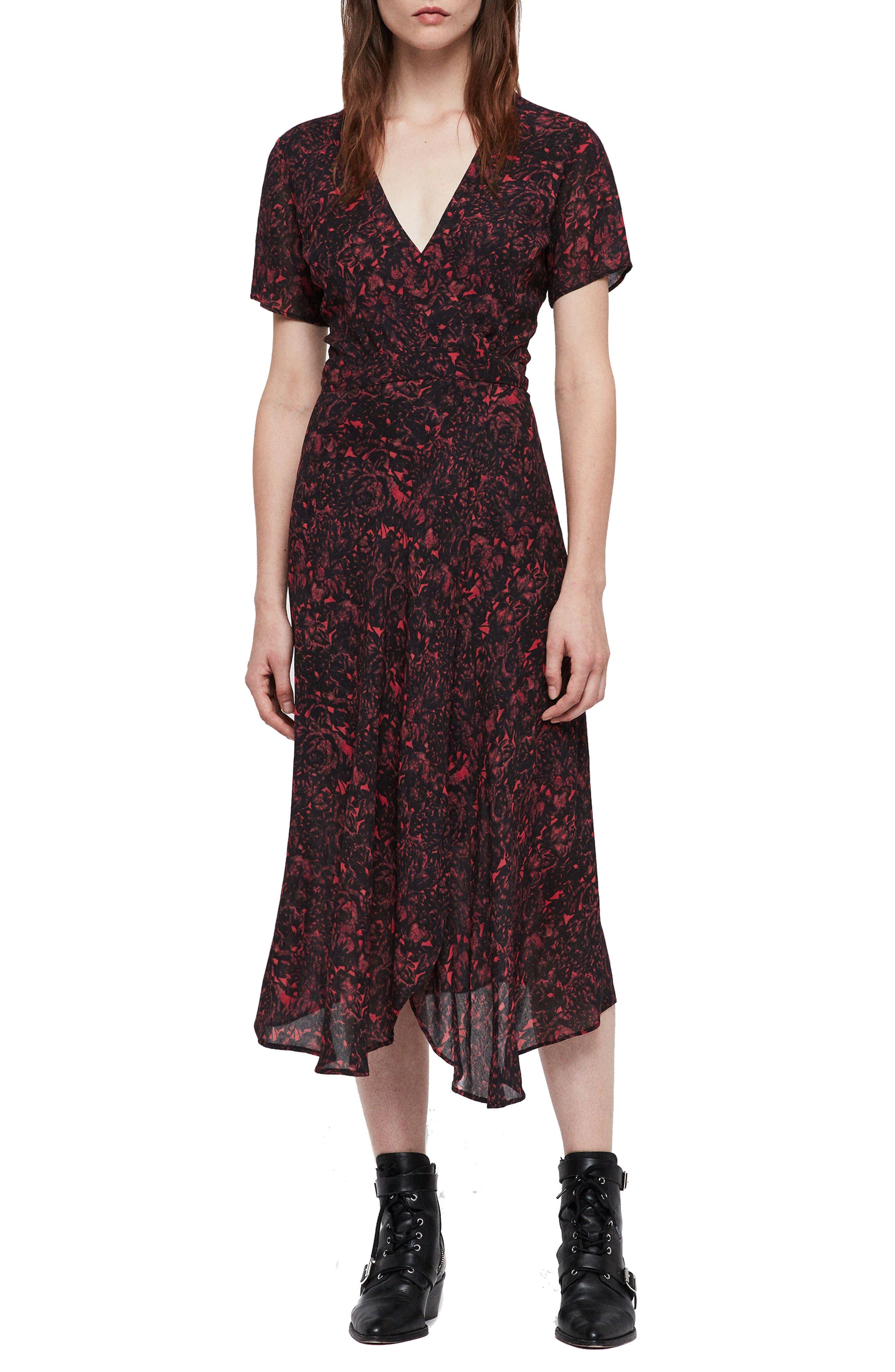 Image of ALLSAINTS Seeta Rosey Silk Midi Dress