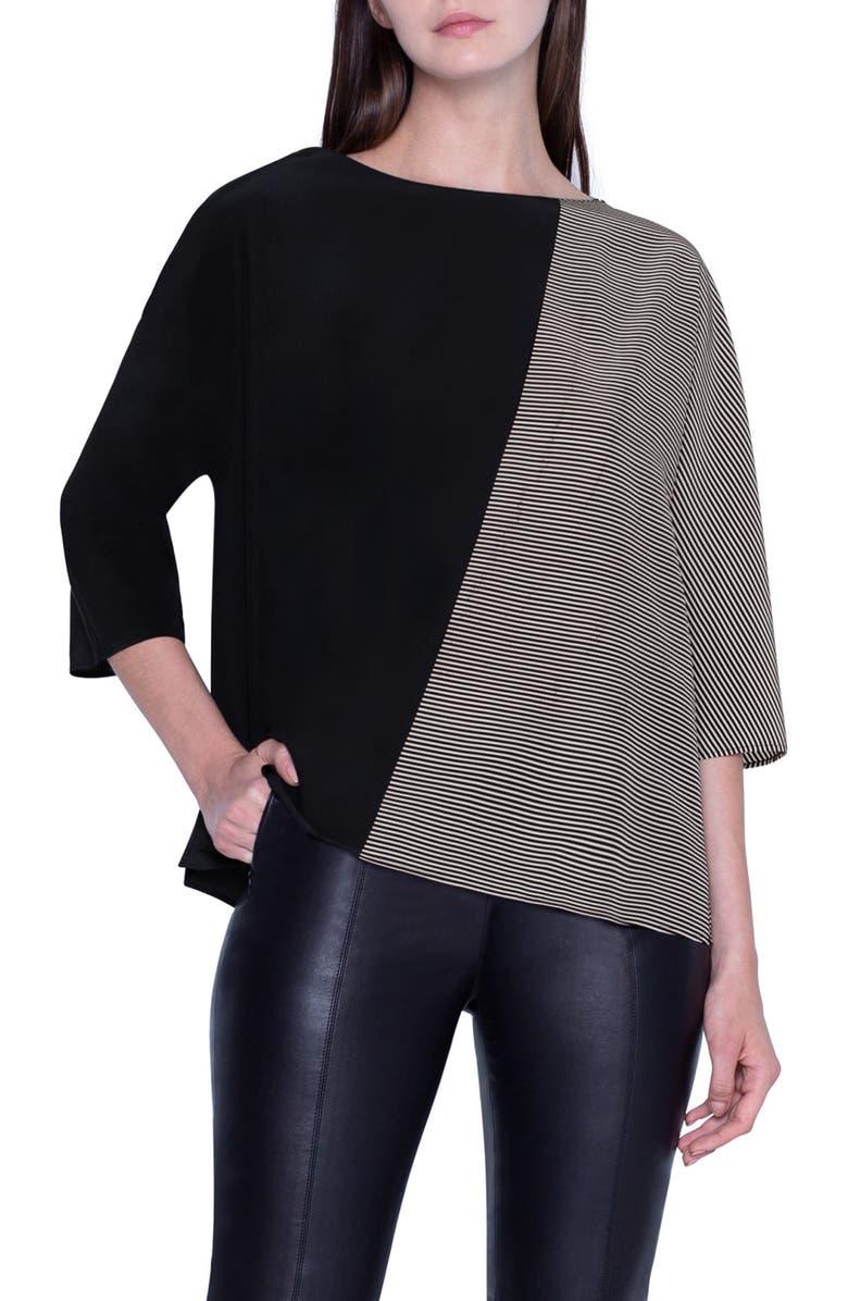 AKRIS Stripe & Solid Silk Top, Main, color, BLACK JASMINE