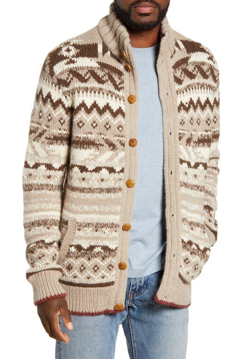 FAHERTY Winter Plains Cardigan, Main, color, NATURAL MOTIF
