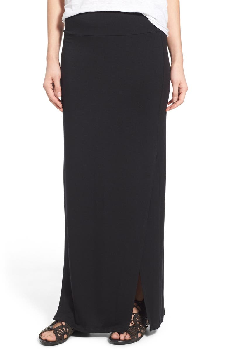 STEM 'Petal' Stretch Knit Maxi Skirt, Main, color, 001