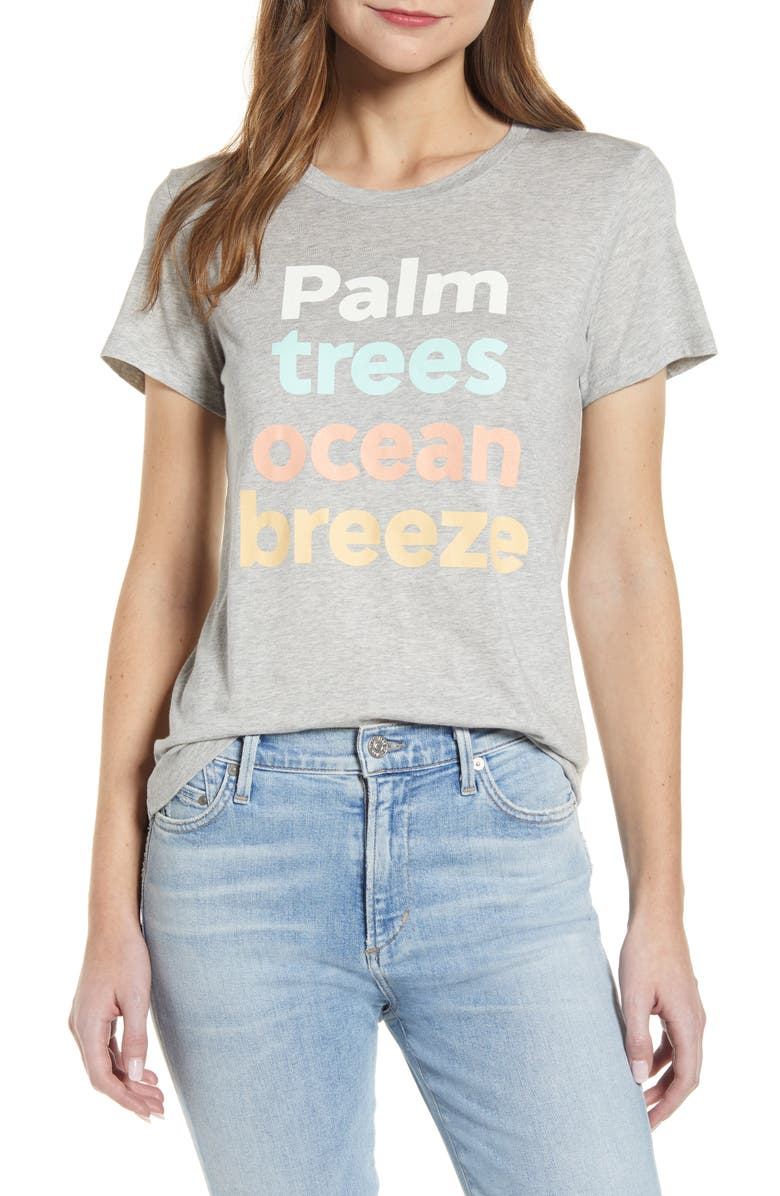 1901 Palm Trees Ocean Breeze Graphic Tee, Main, color, GREY HEATHER PALM AND BREEZE