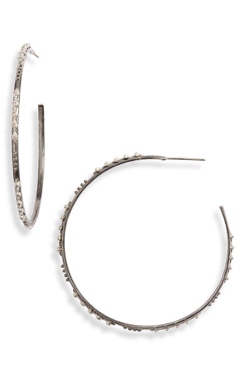 ARMENTA New World Diamond Hoop Earrings, Main, color, SILVER
