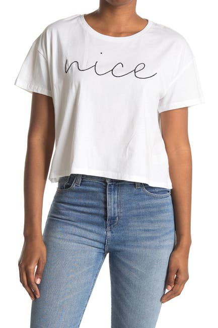 Image of French Connection Nice Graphic Crop T-Shirt