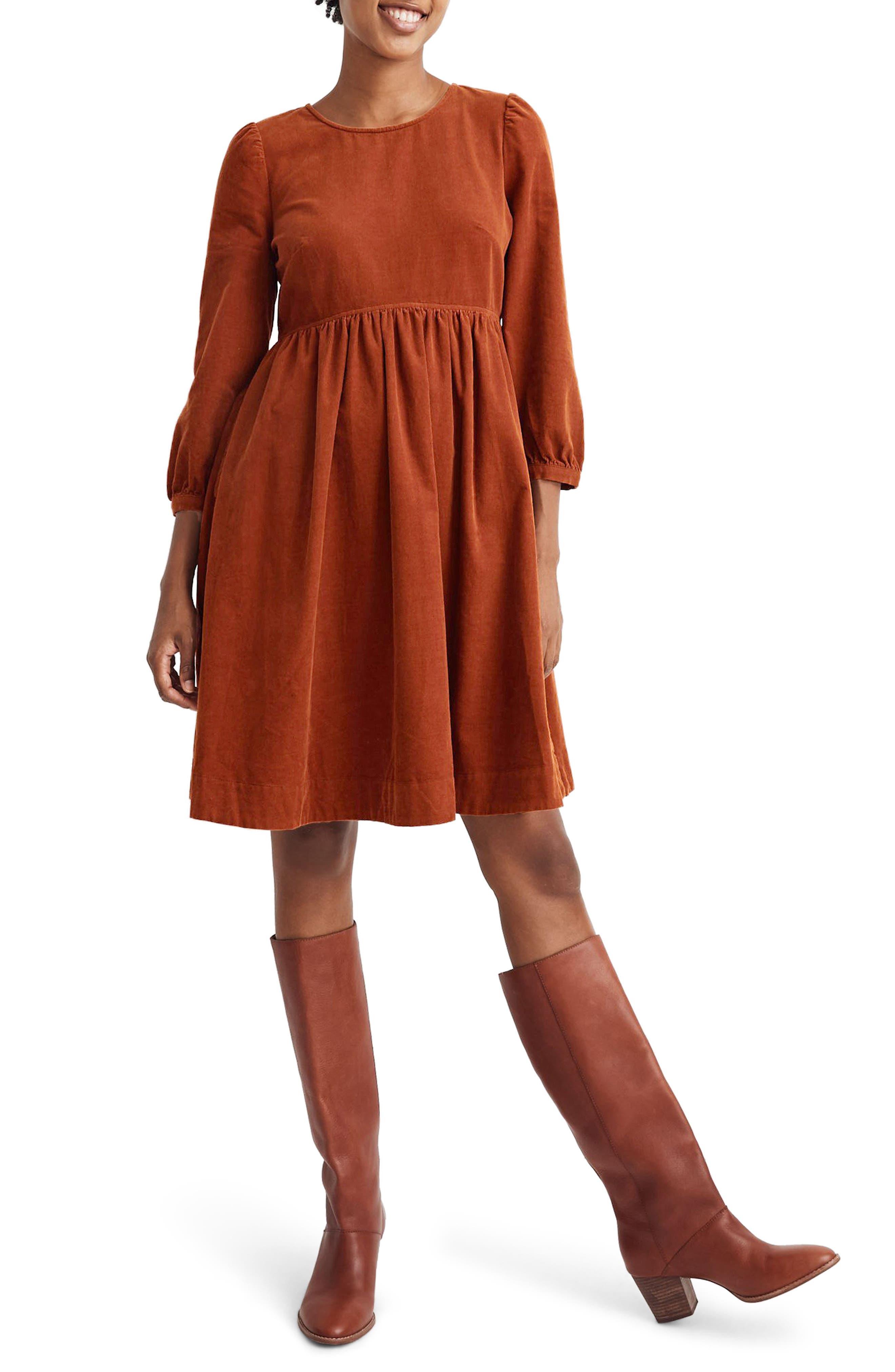 Madewell Corduroy Puff Sleeve Minidress