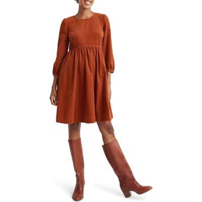 Madewell Corduroy Puff Sleeve Minidress, Red