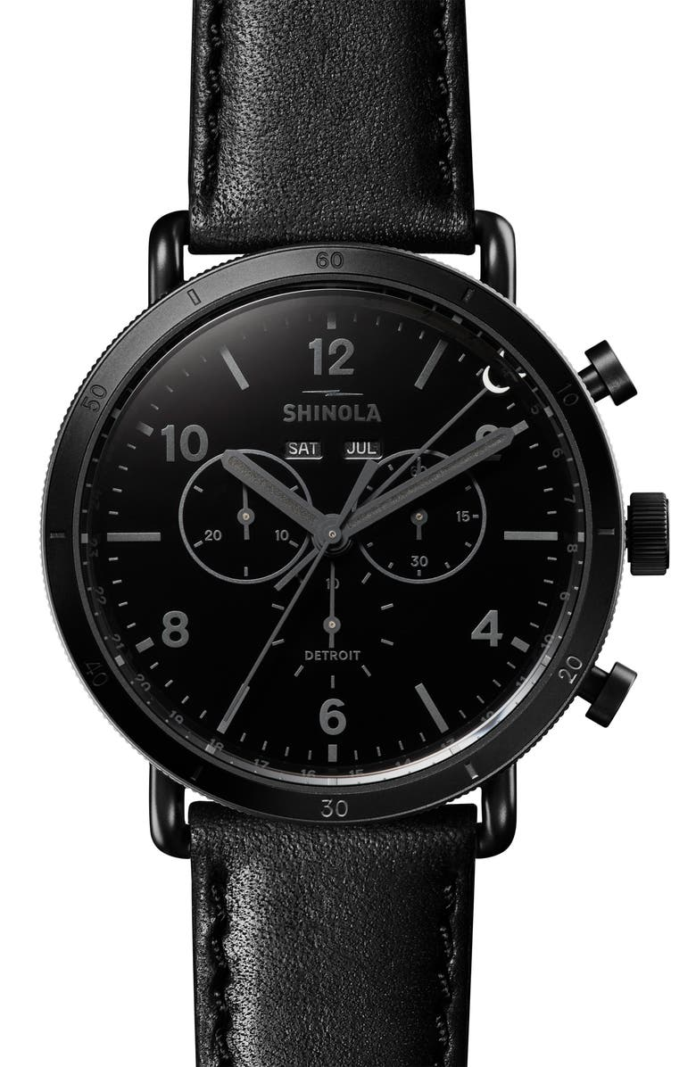 SHINOLA The Canfield Sport Chrongraph Leather Strap Watch, 45mm, Main, color, BLACK