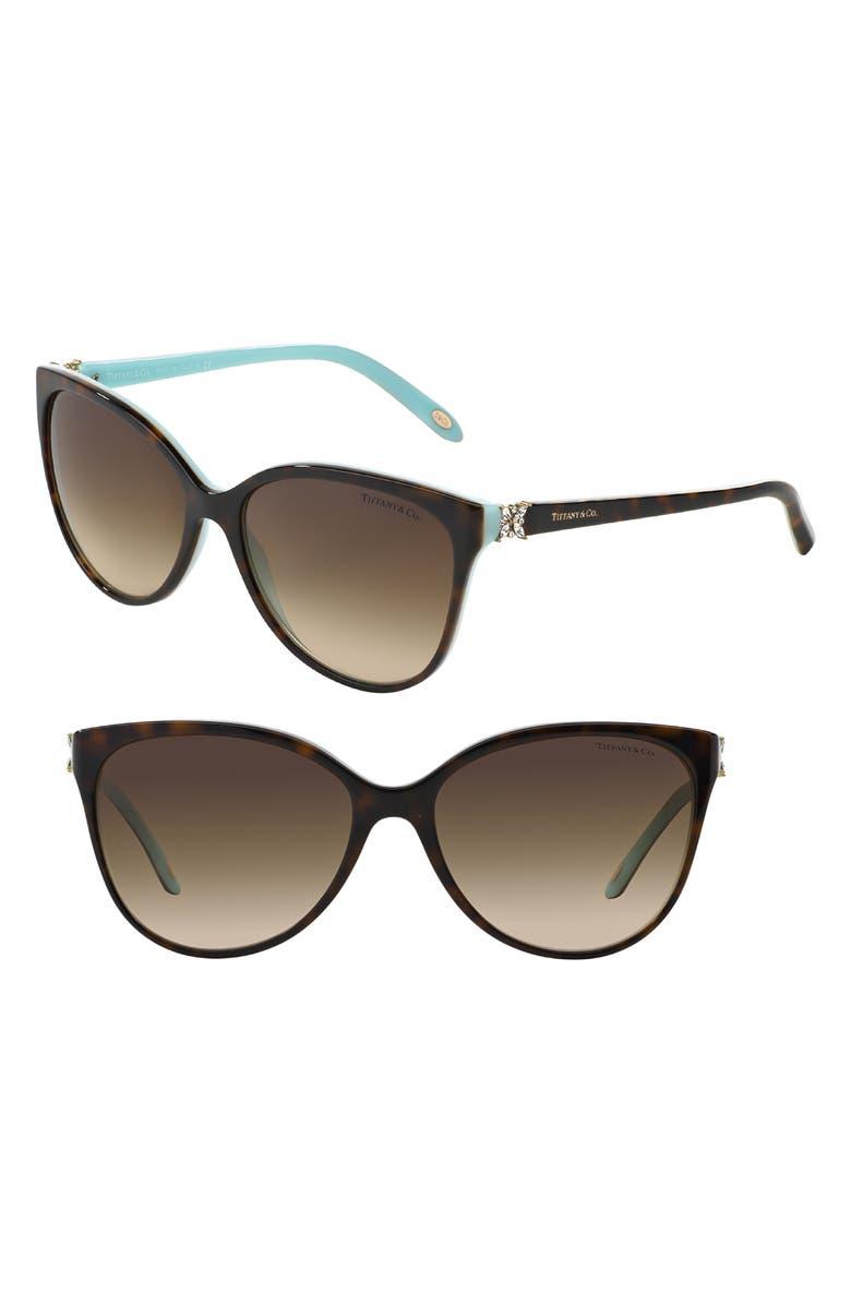TIFFANY & CO. 58mm Gradient Cat Eye Sunglasses, Main, color, HAVANA