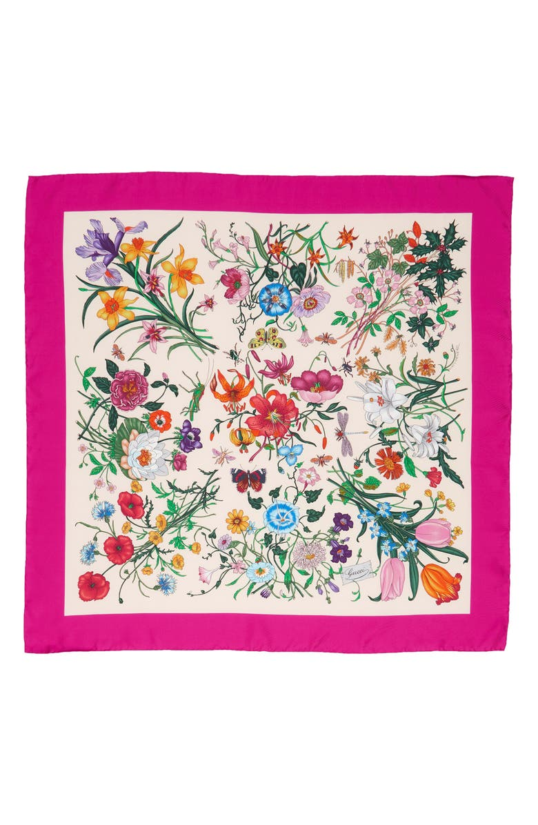 GUCCI GG Flora Fluorescent Border Silk Scarf, Main, color, IVORY/ PINK