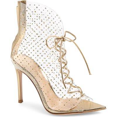 Gianvito Rossi Translucent Lace-Up Bootie, Metallic