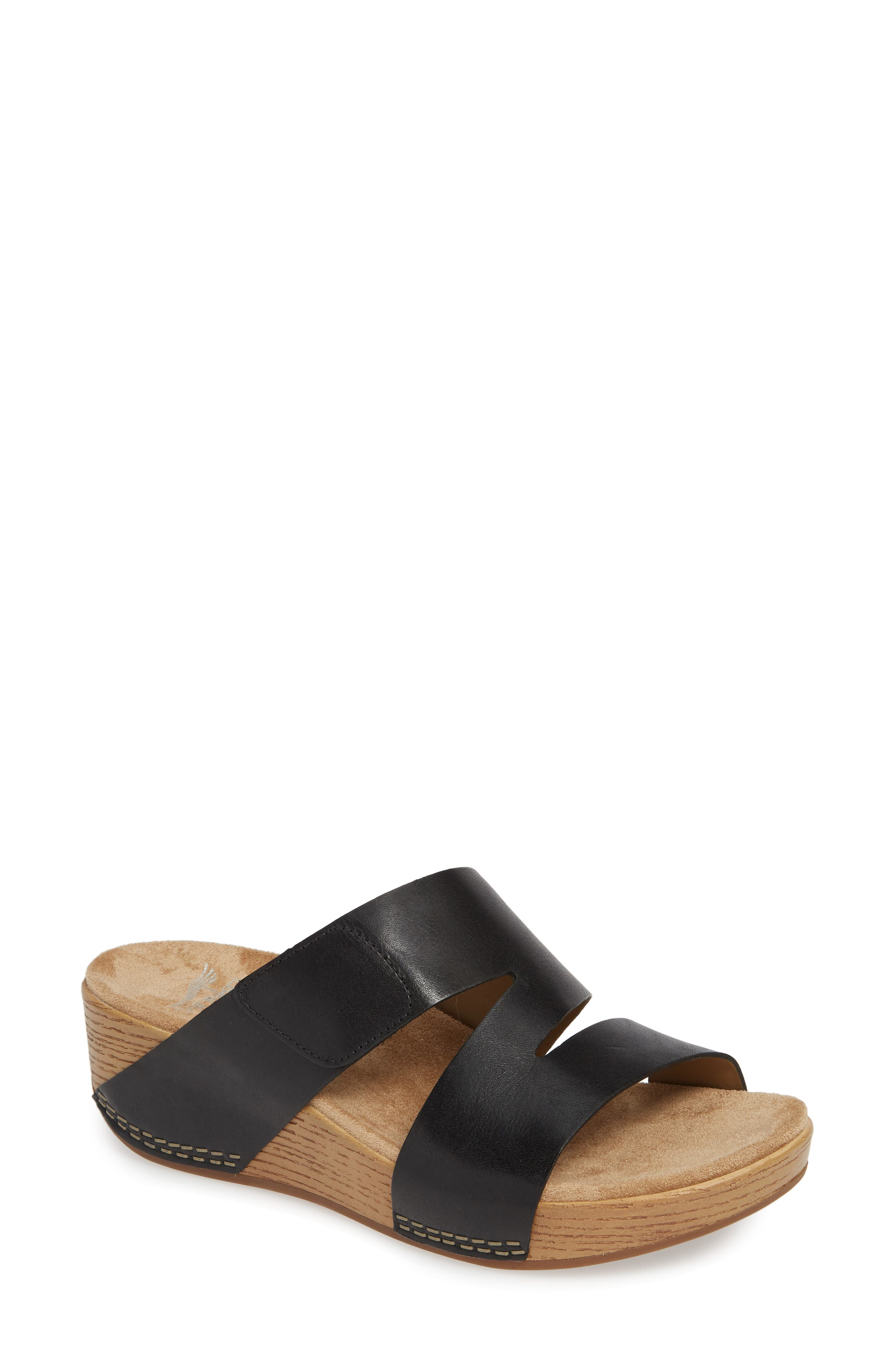 ,                             Lacee Slide Sandal,                             Main thumbnail 1, color,                             BLACK LEATHER