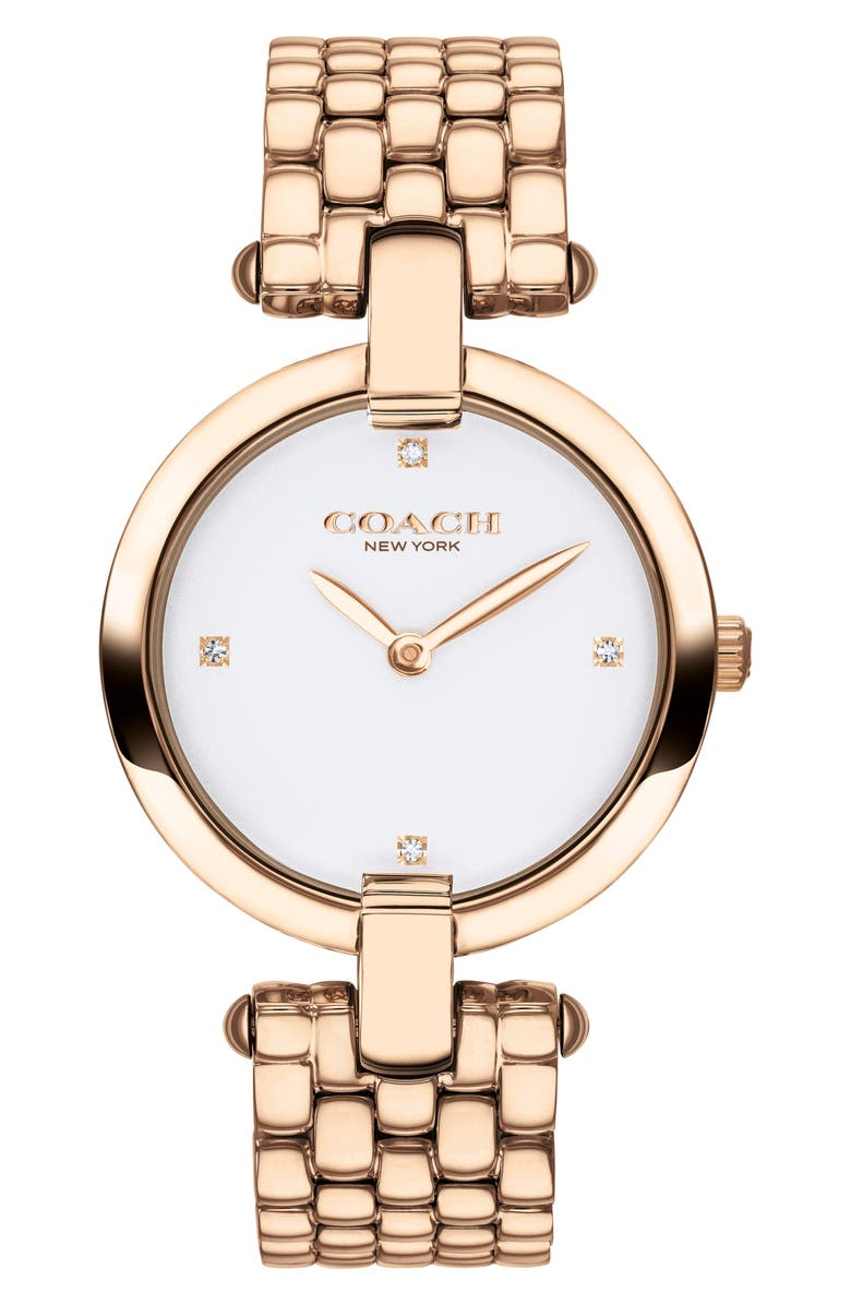 COACH Chrystie Bracelet Watch, 32mm, Main, color, CARNATION GOLD/ WHITE
