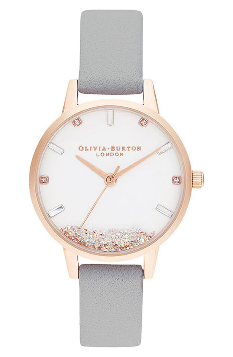 OLIVIA BURTON Oliva Burton Wishing Leather Strap Watch, 30mm, Main, color, GREY/ WHITE/ ROSE GOLD
