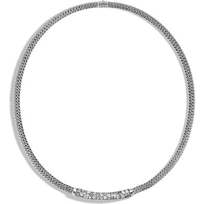 John Hardy Classic Chain Grey Diamond Pave Necklace