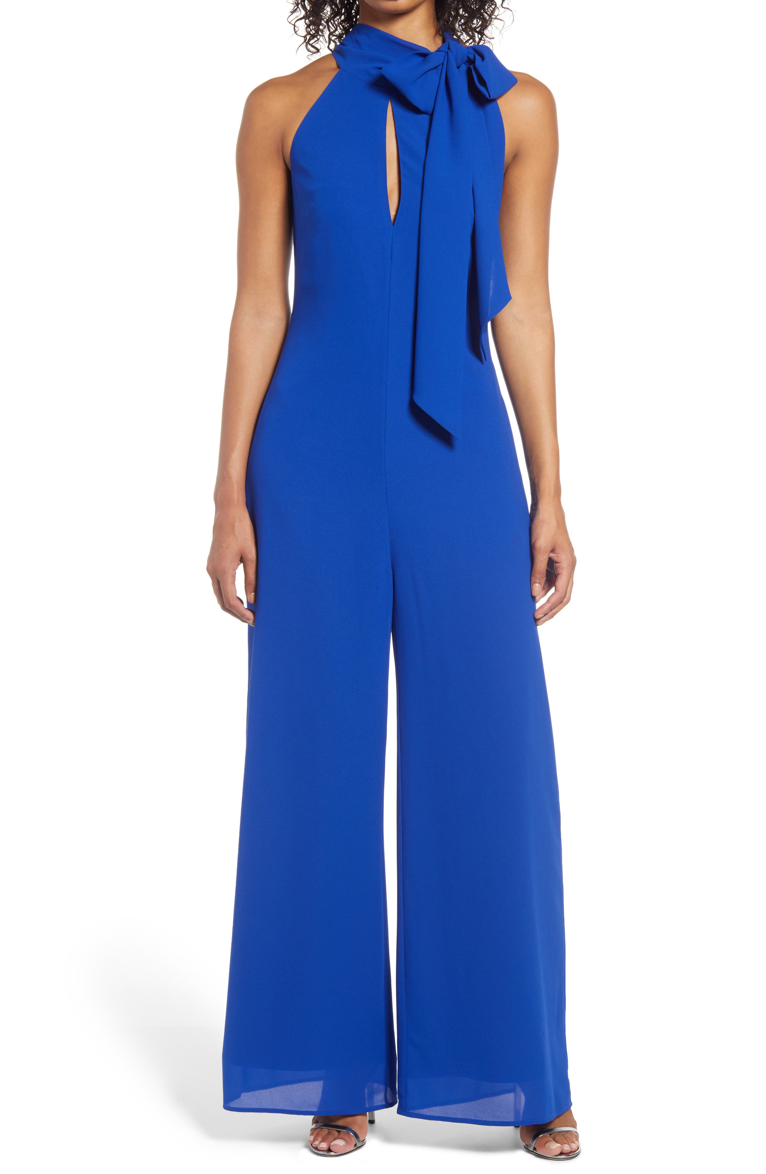 Women's Mark + James By Badgley Mischka Side Tie Neck Jumpsuit With Keyhole