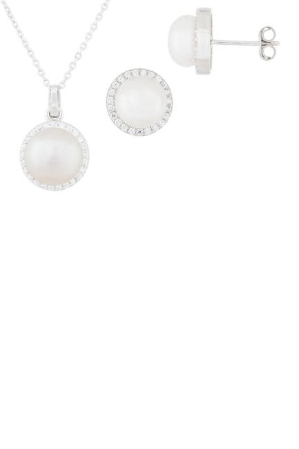 Image of Splendid Pearls CZ 7-9mm Cultured Freshwater Halo Pearl Set