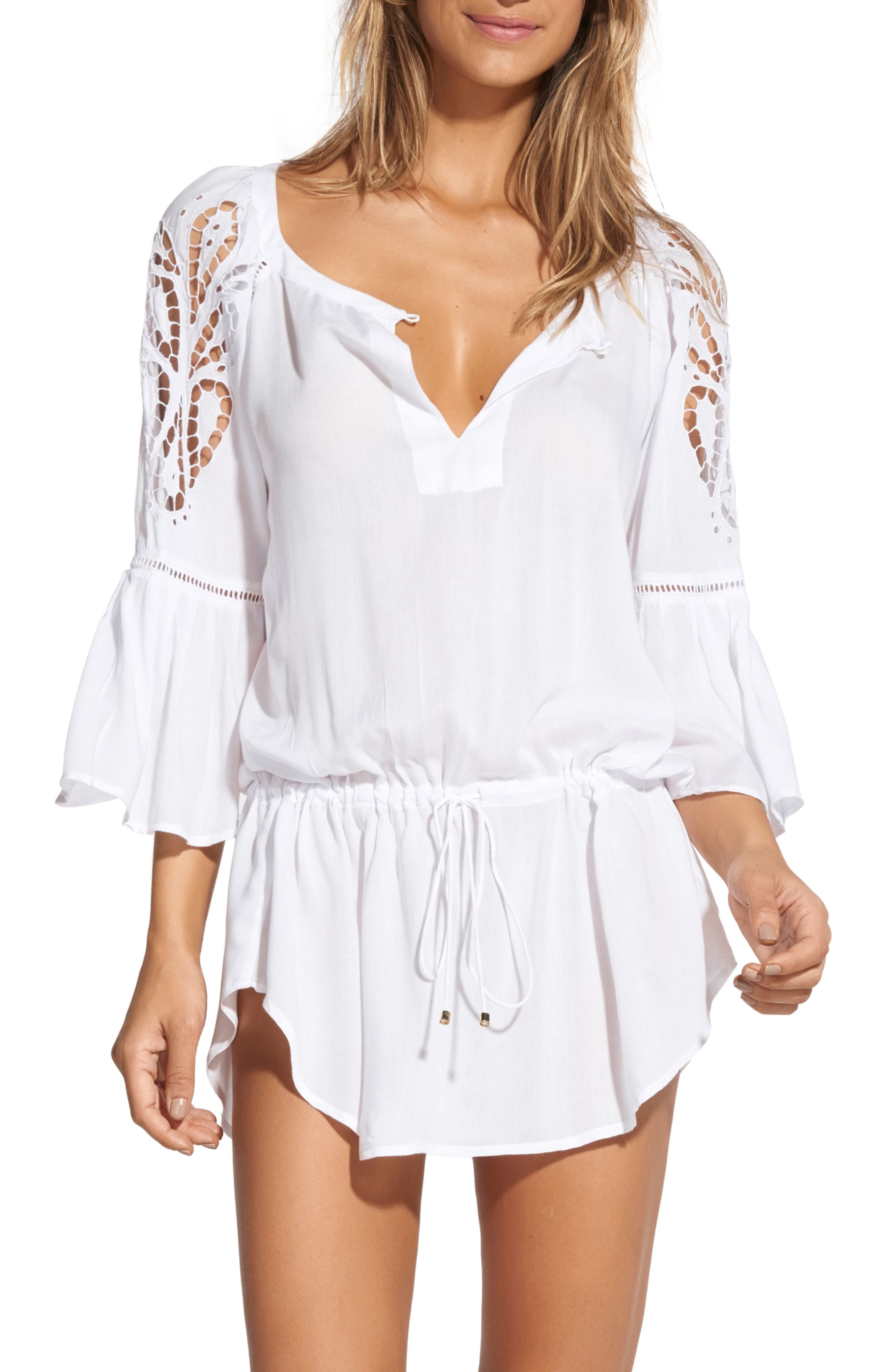 Vix Swimwear Embroidered Chemise Tunic Cover-Up, White