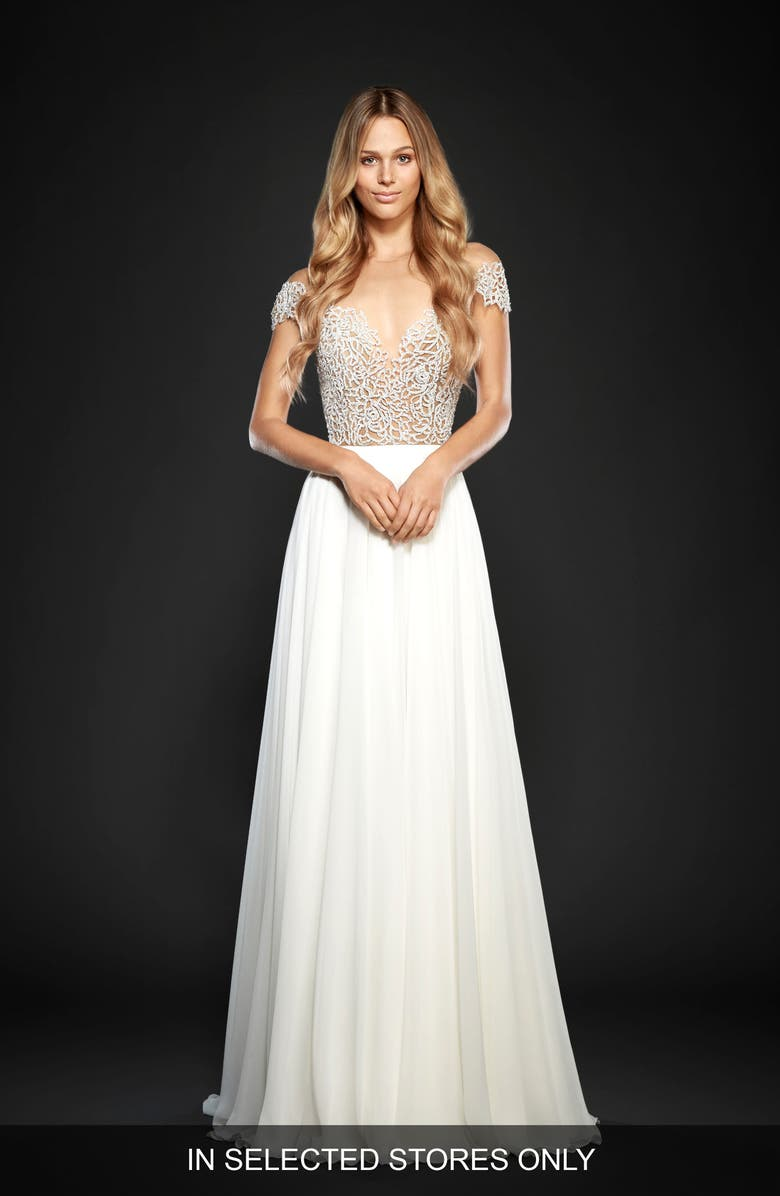 HAYLEY PAIGE Celine Embellished Illusion & Chiffon A-Line Gown, Main, color, IVORY/NUDE