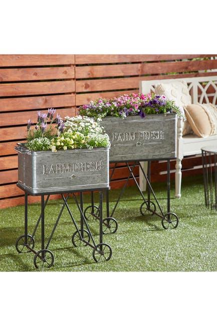 Image of Willow Row Large Rectangular Galvanized Steel Cart Planters Set of 2