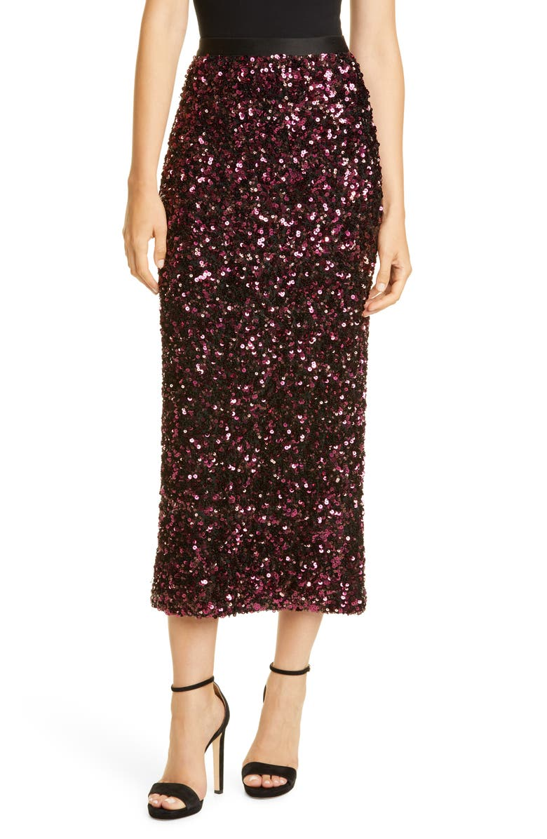 REBECCA TAYLOR Stretch Sequin Skirt, Main, color, PLUM